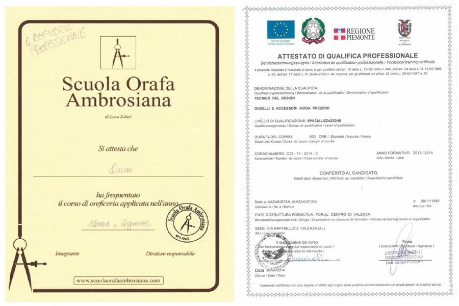 米兰SOA珠宝设计学院和瓦伦扎FOAR AL珠宝学院证书